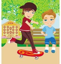 The happy boy on a skateboard vector