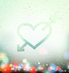 Heart with an arrow painted on sweaty window vector