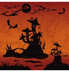 Holiday halloween landscape with castle mushroom vector