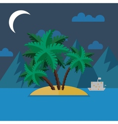 Summer landscape in flat style at night vector