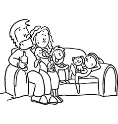 Family sitting in the seat - black line vector