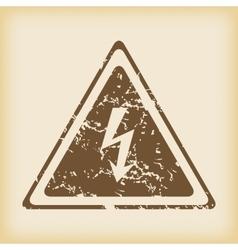 Grungy high voltage icon vector