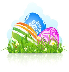 Easter eggs grass vector