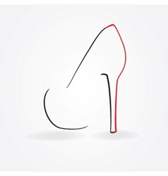 Pump shoe silhouette vector
