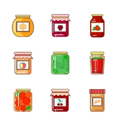 Set of jars with honey jam and vegetables vector