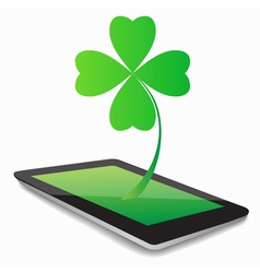 Tablet computer and clover leaf vector