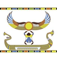 Egyptian sun boat vector