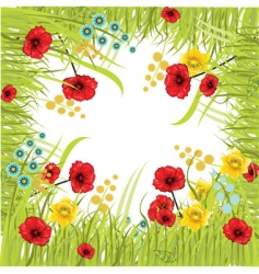 Flower and grass frame vector