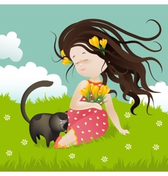 Girl with cat sitting on grass vector