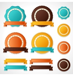 Set of labels badges and ribbons vector