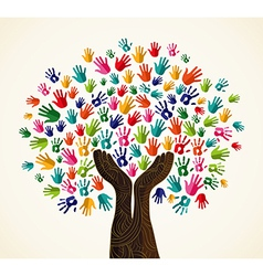 Colorful human hands solidarity tree vector