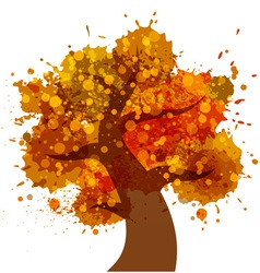 Grunge autumn tree icon vector