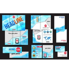 Set of corporate business stationery brochure vector