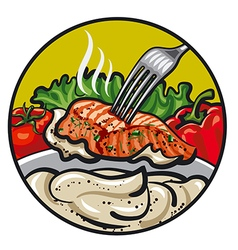 Grilled fish with sauce vector