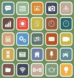 Application flat icons on green background vector