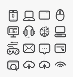 Different web icons set with rounded corners vector