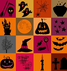 Halloween black and yellow icons set bright vector