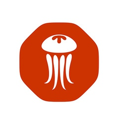 Jellyfish logo stop sign shape with rounded vector