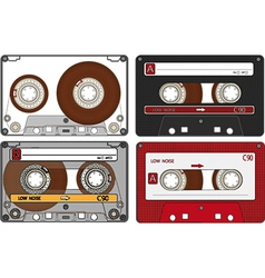 Set of the different audio cassettes vector