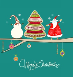 Santa reindeer tree on twine green vector