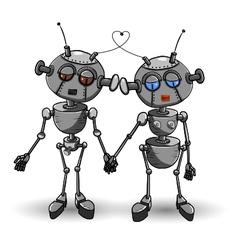 Robots in love vector