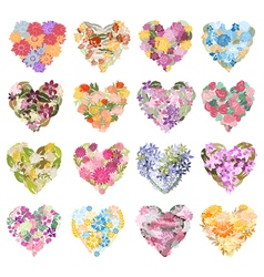 Floral hearts set vector