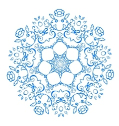 Rosette pattern of blue flowers vector