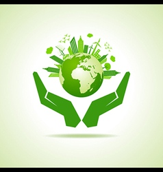 Save nature concept with eco cityscape stock vector
