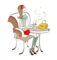 Cafe woman vector