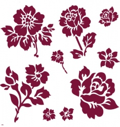 Rose and iris icons vector