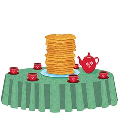 Pancakes in a dish on table vector