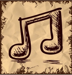 Double music note isolated on vintage background vector