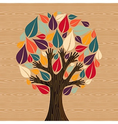 Abstract diversity tree hands vector