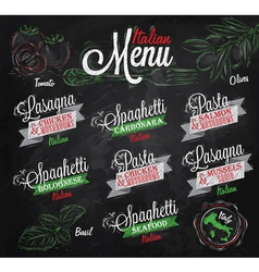 Menu italian chalk color vector