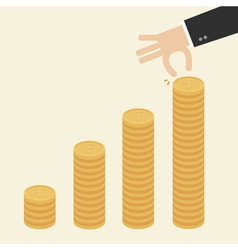 Business hand put coins to stack of coins vector