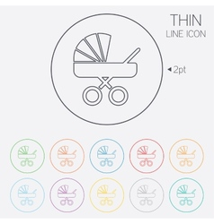 Baby pram stroller sign icon baby buggy symbol vector
