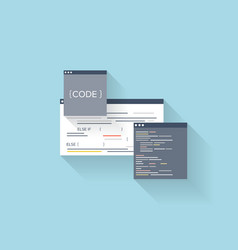 Flat web icon coding interface windowprogramming vector