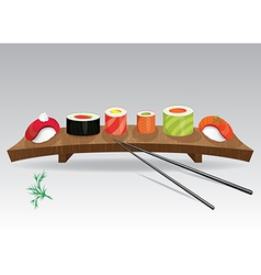 Food sea set sushi details of japanese cuisine vector