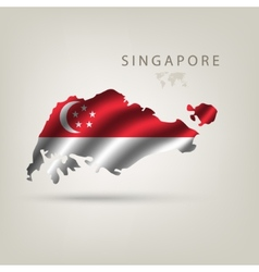 Flag of singapore as a country with a shadow vector