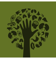 Hand a tree3 vector