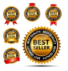 Best seller gold sign label template vector