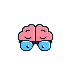 Brain with glasses science logo vector