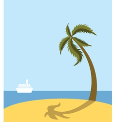Sea beach with palm tree vector