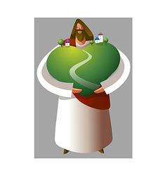 Jesus christ holding grassland vector