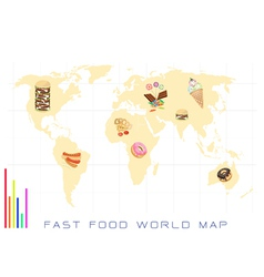 World map with fast food and sweet food vector