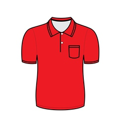 Red polo shirt outline vector