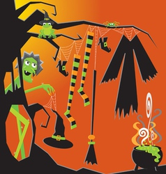 Witch and her clothesline vector