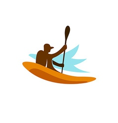 Kayak fishing logo vector