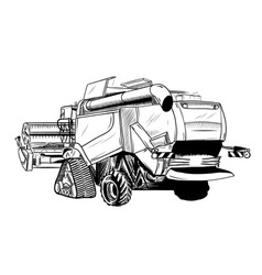 Black sketch of big combine vector