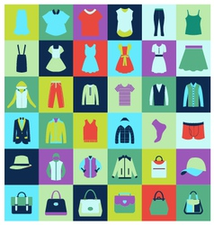 Flat icons set of fashion clothing and bags vector